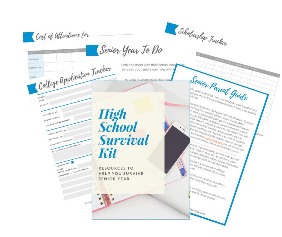 High school survival kit for parents -senior year