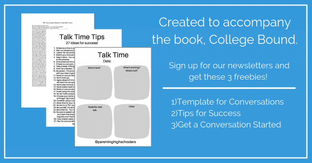 Download these freebies to help talk with your teen about college